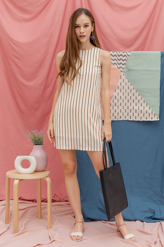 Luna Stripe Dress Crème