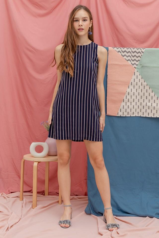 Luna Stripe Dress Navy