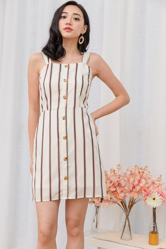 Leslie Dress White Stripe