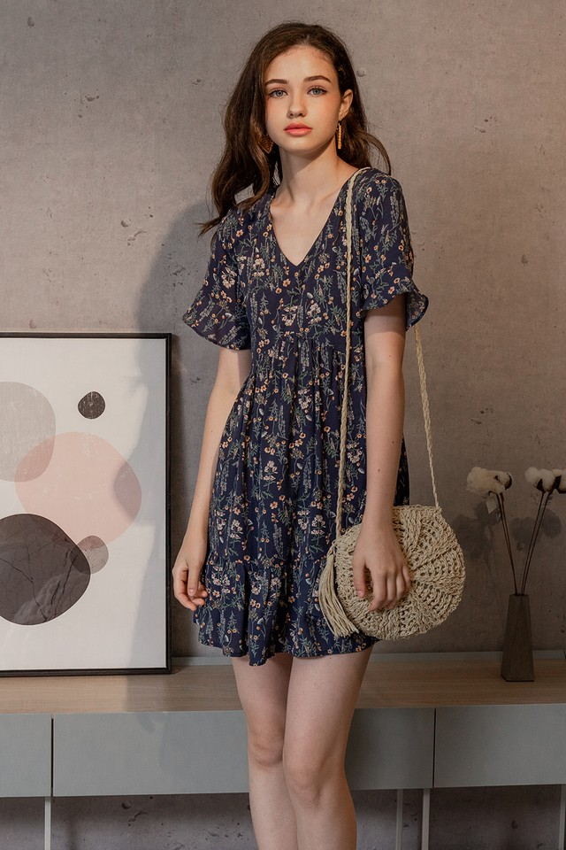 Claudette Dress Navy Floral