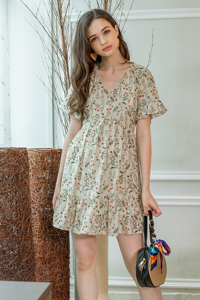 Claudette Dress Cream Floral