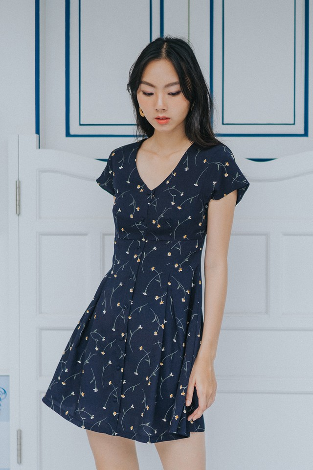 Kirie Dress Navy Floral