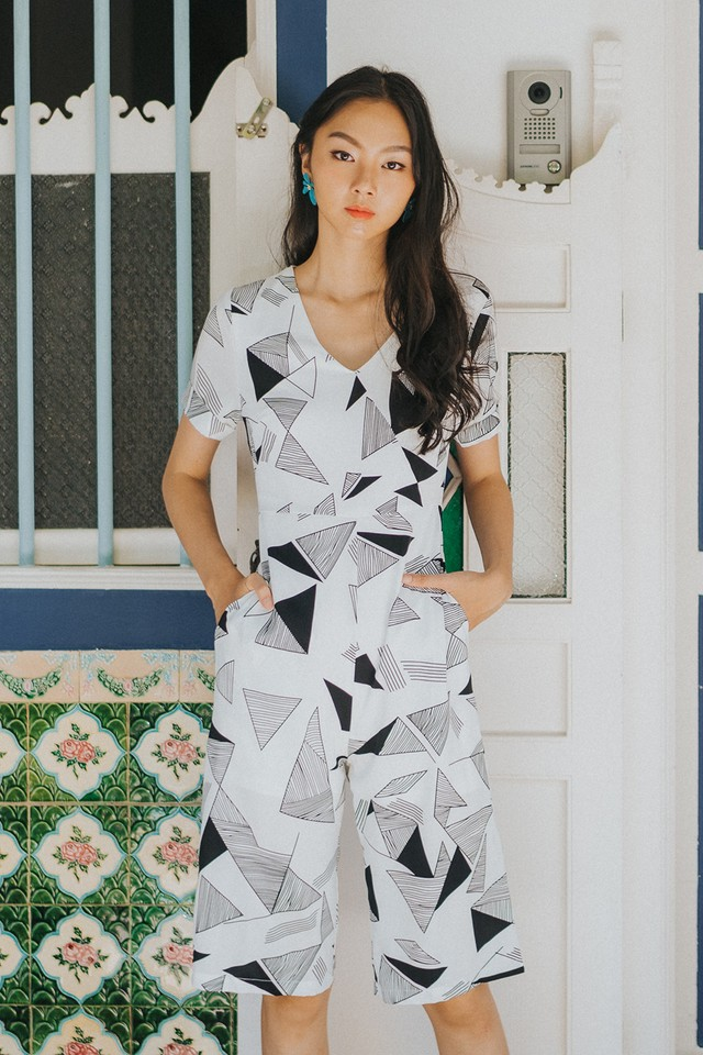 Zayne Jumpsuit White Abstract
