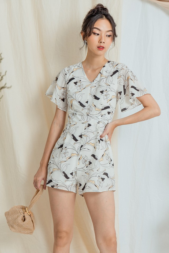 Madge Playsuit White Floral
