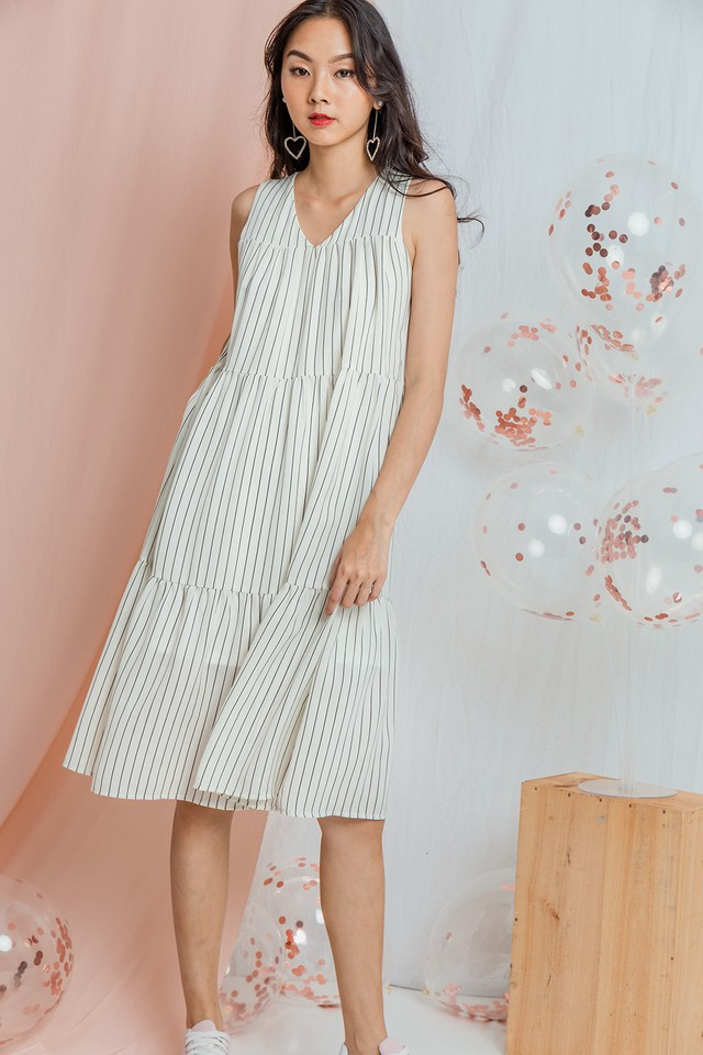 Yancey Dress White Stripes
