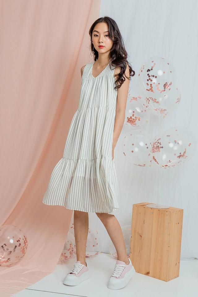 Yancey Dress White Stripes