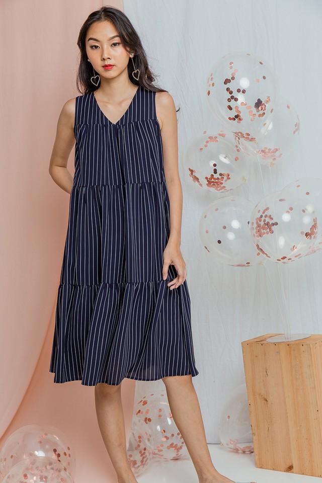 Yancey Dress Navy Stripes