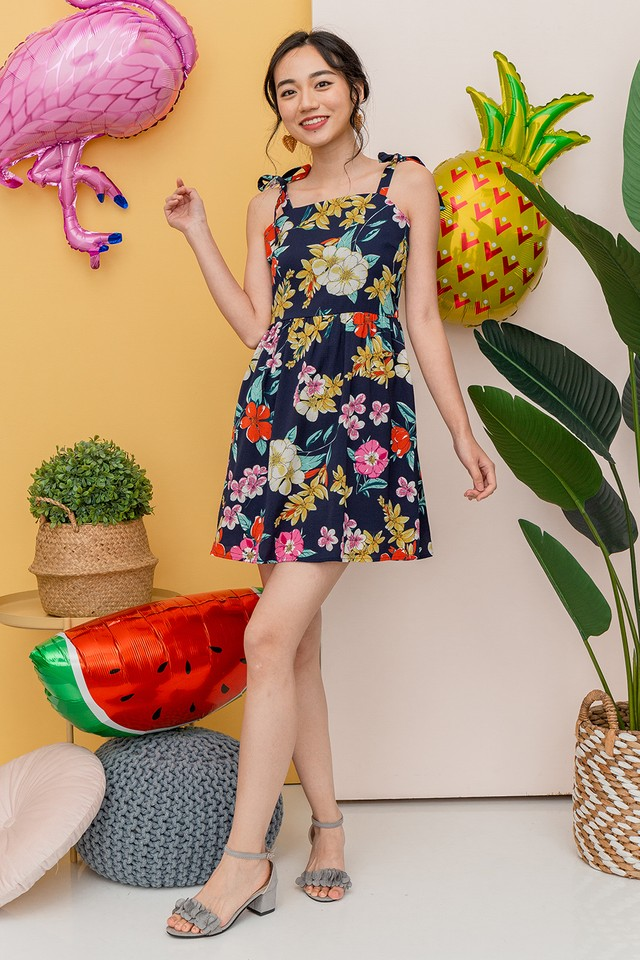 Janae Dress Navy Floral