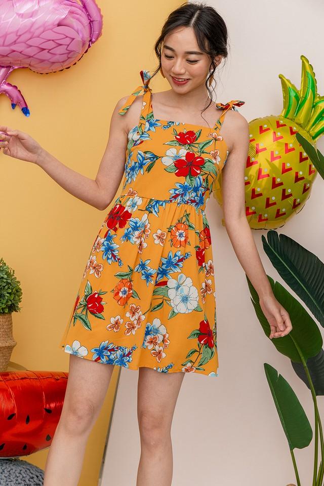 Janae Dress Mustard Floral