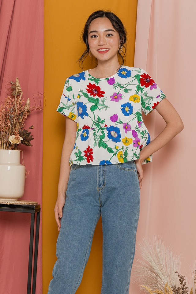 Glenda Top White Floral
