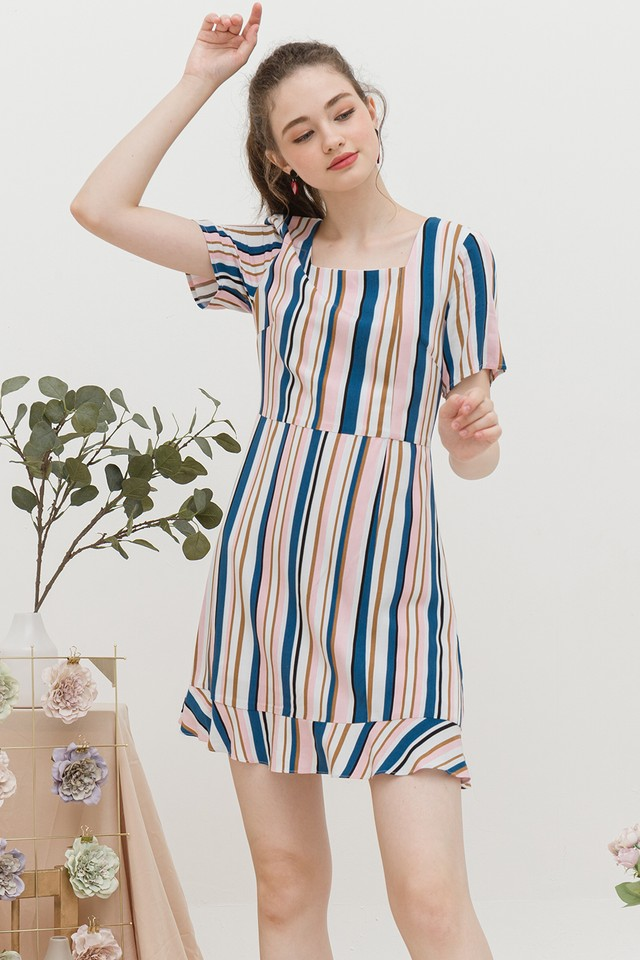 Jarina Dress Pink/Blue Stripes