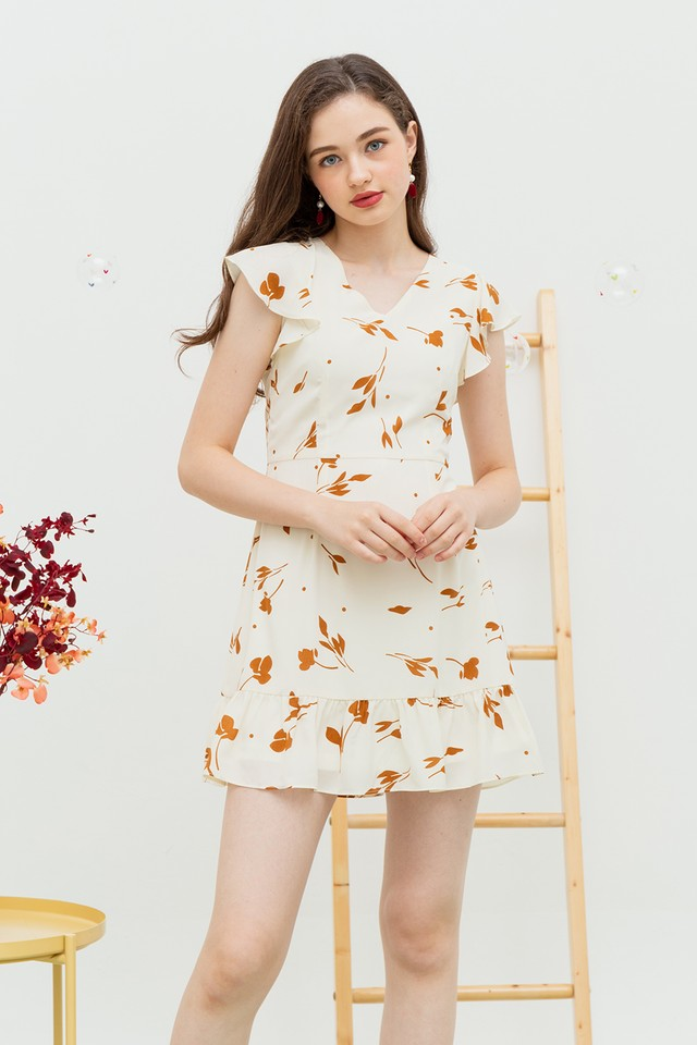 Zoey Dress Creme Floral
