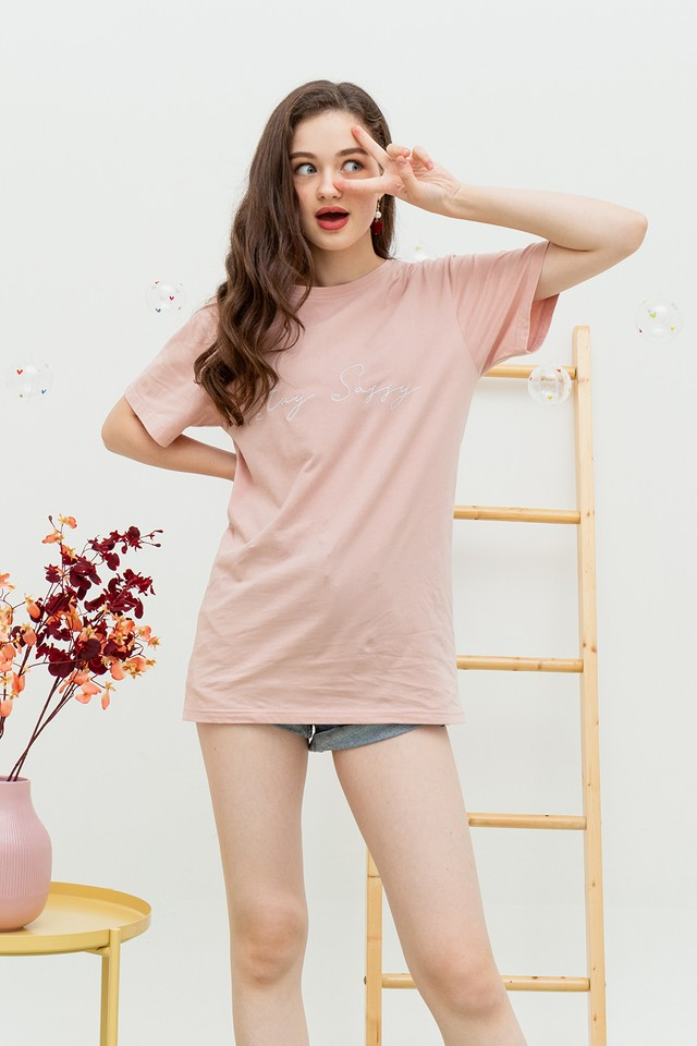 Stay Sassy Oversize Tee Pink