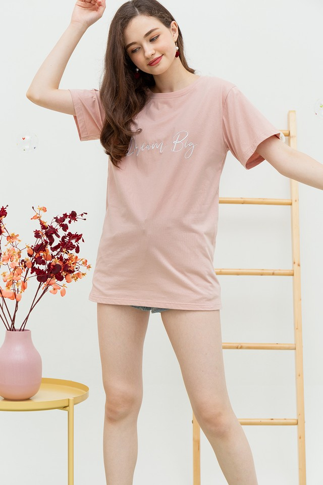 Dream Big Oversize Tee Pink