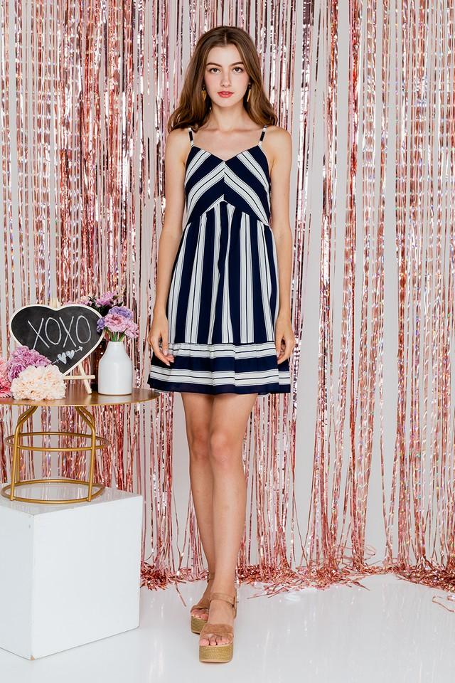 Karly Dress Navy Stripes