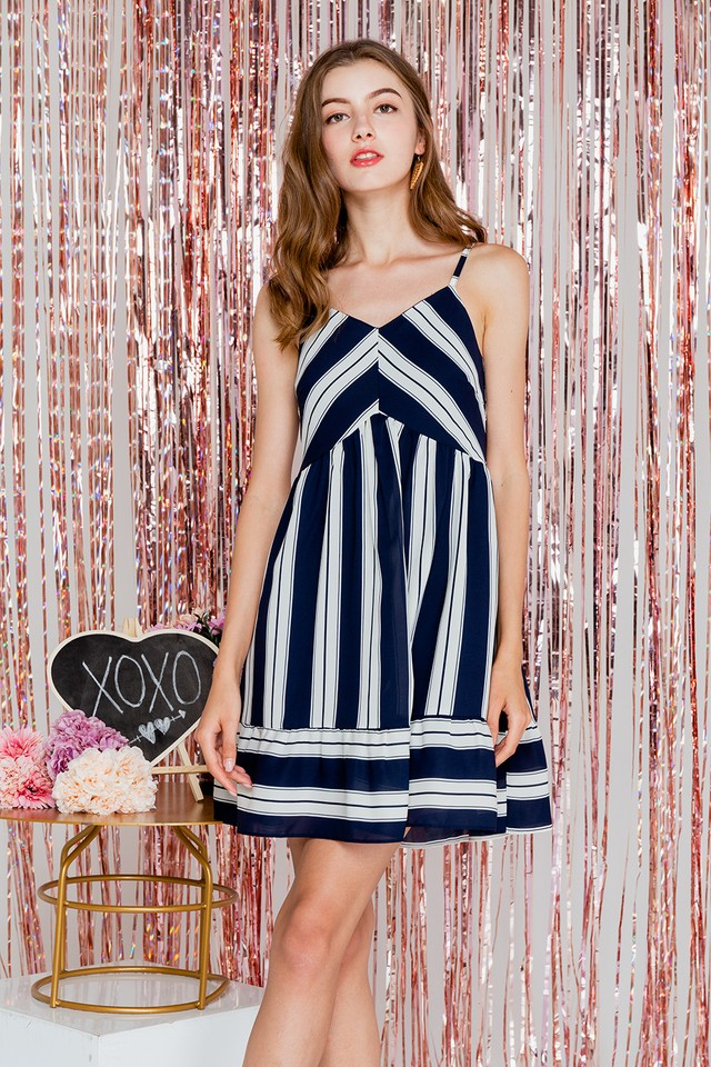 Karly Dress Navy Stripes