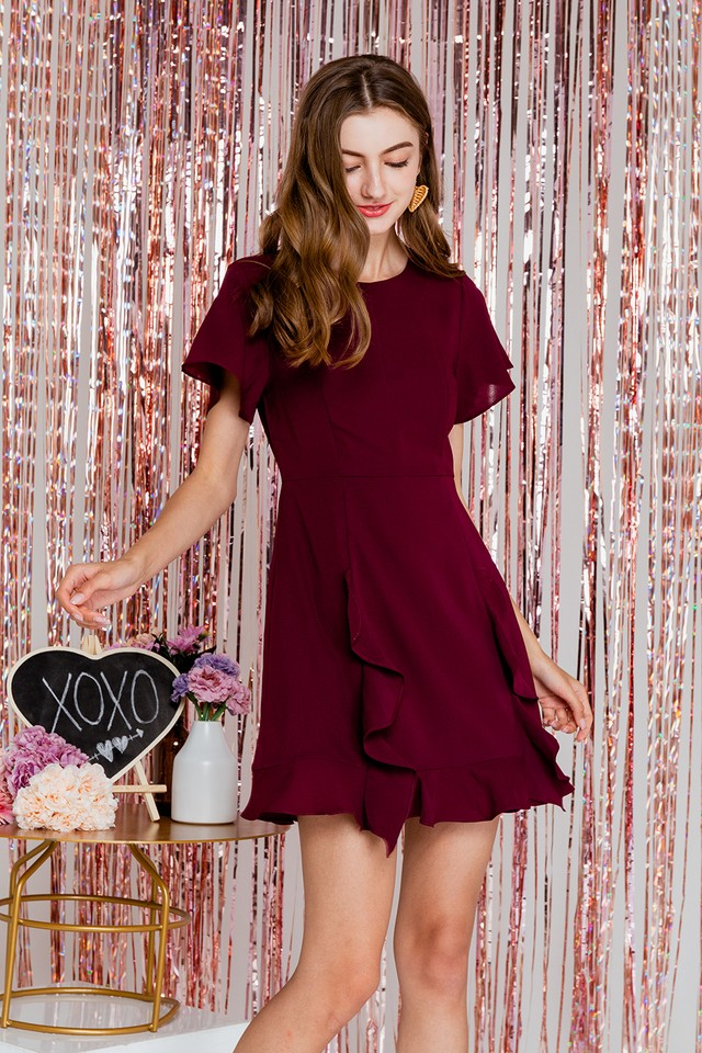 Ena Dress Maroon