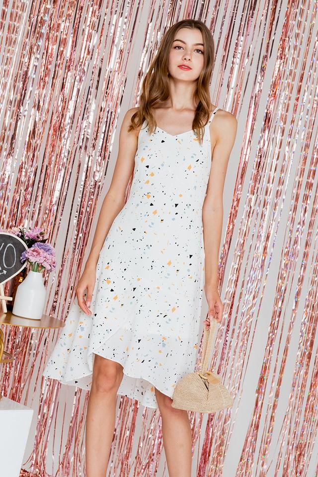 Alys Dress White Terrazzo