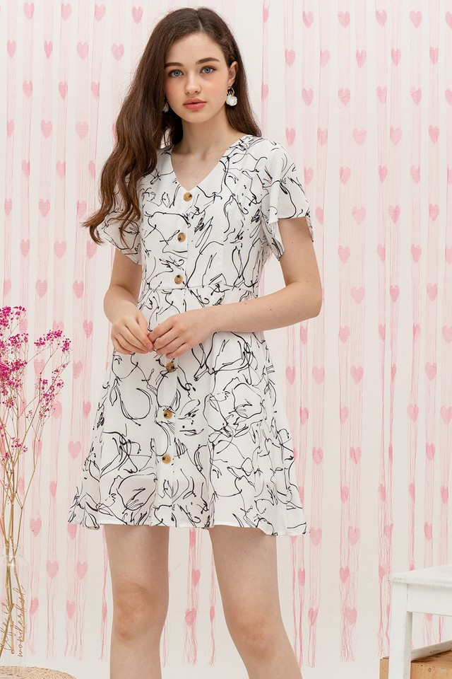 Martyn Dress White Graphic