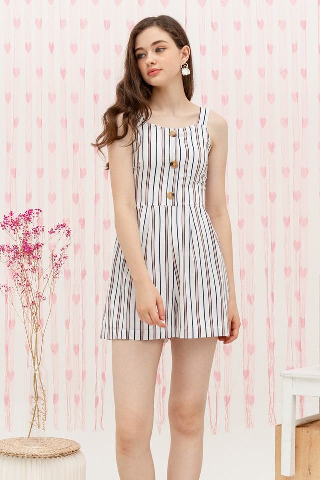 Elina Playsuit White Stripes