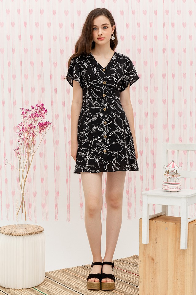 Martyn Dress Black Graphic