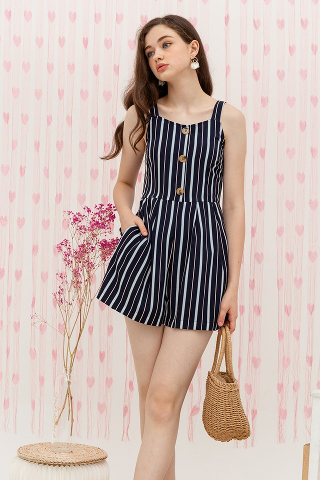 Elina Playsuit Navy Stripes