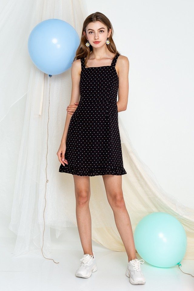 Tamia Dress Black Polka