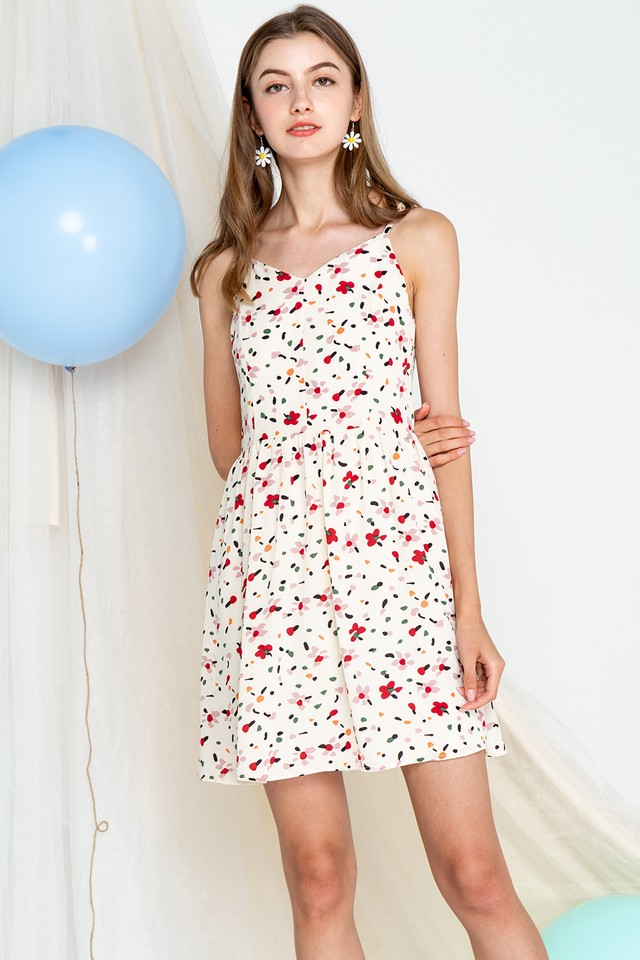 Carrol Dress Creme Print