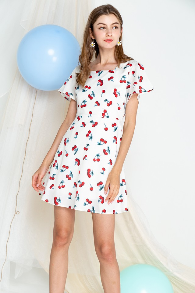 Cherry Dress White