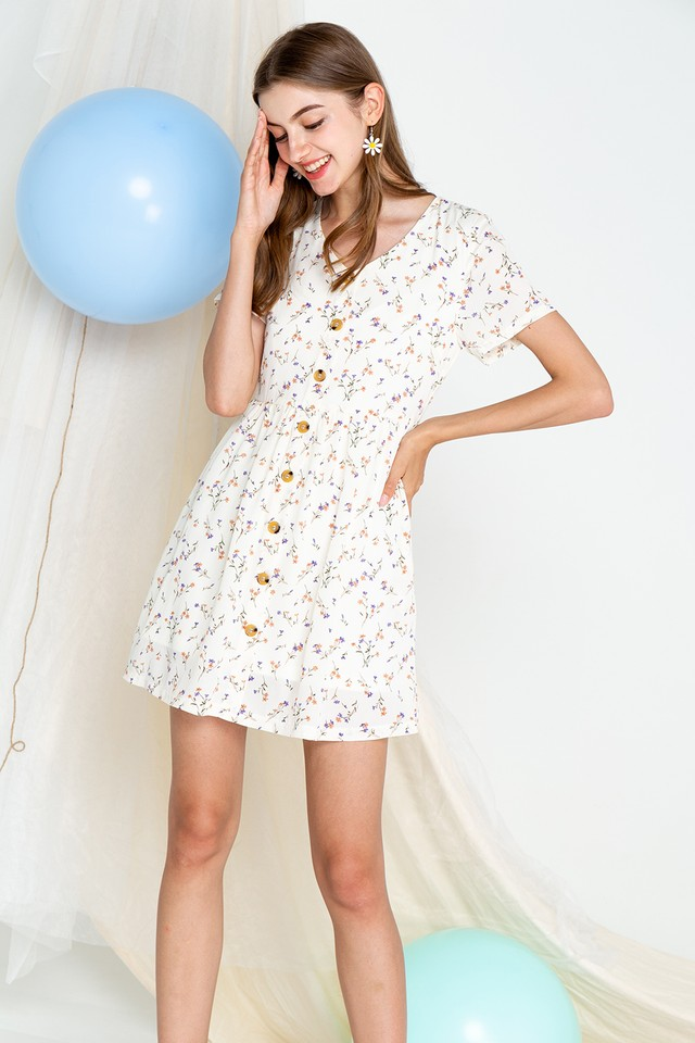 Khloe Dress Cream Floral