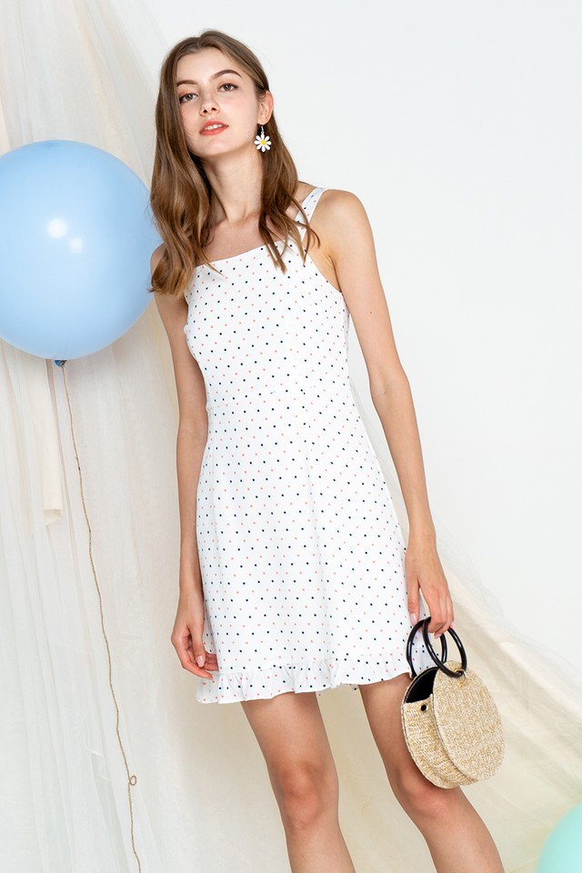 Tamia Dress White Polka