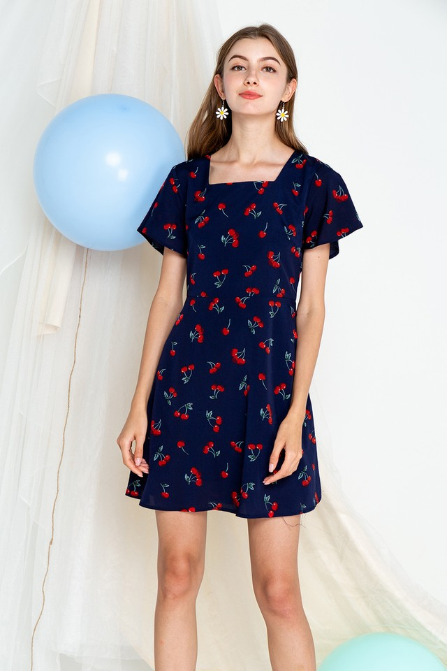 Cherry Dress Navy