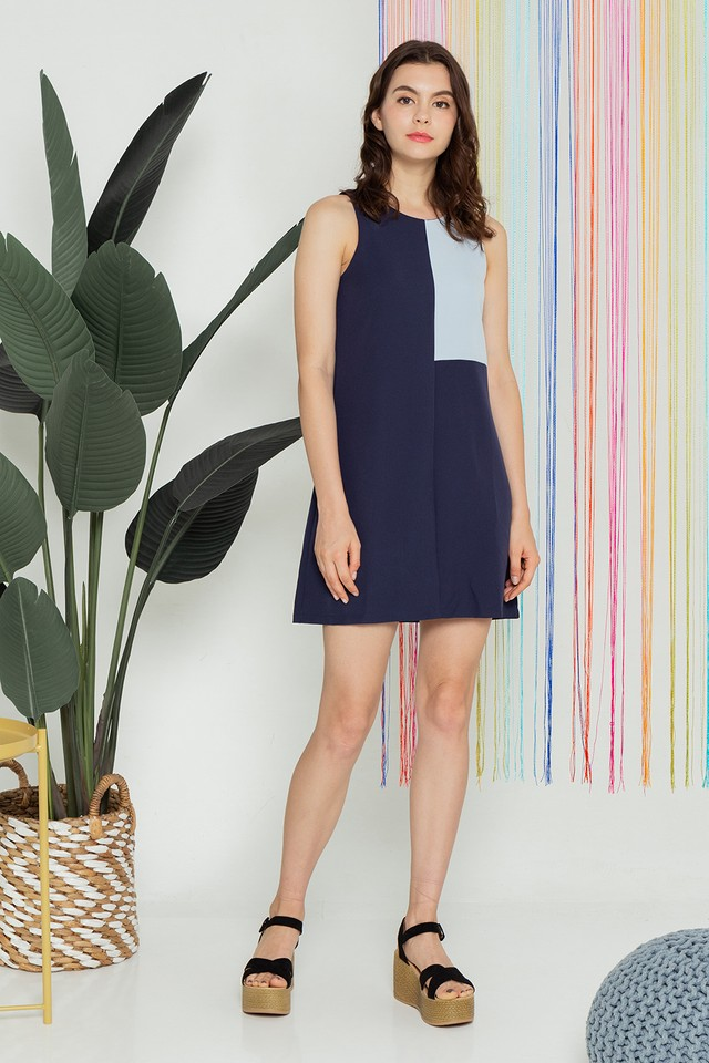 Kimberley Colourblock Dress Navy