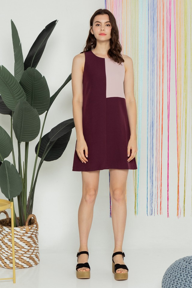 Kimberley Colourblock Dress Maroon