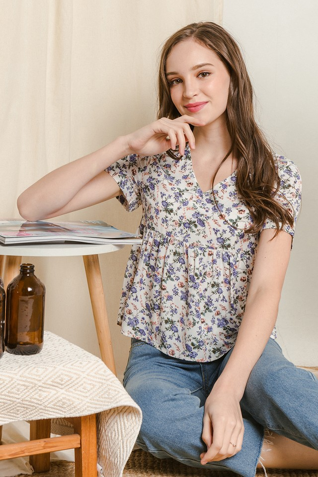 Coraline Top White Floral