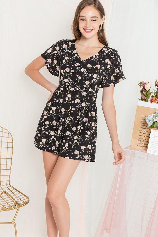 Clovera Playsuit Black Floral