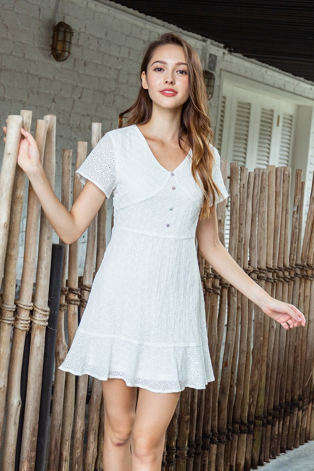 Coleta Eyelet Dress White
