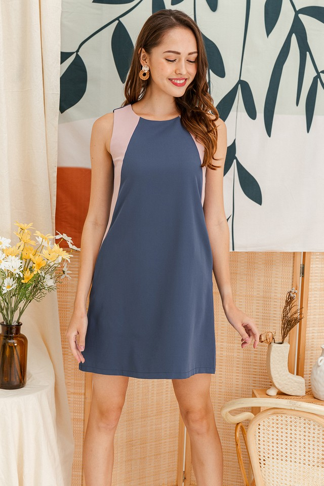 Porter Colourblock Dress Ash Blue