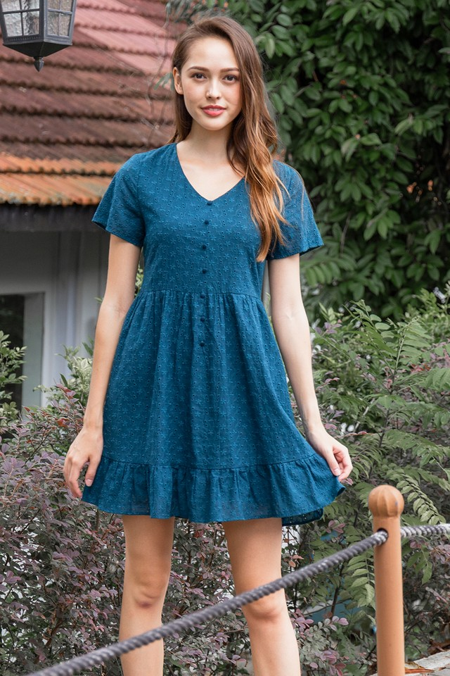 Vedda Eyelet Dress Forest