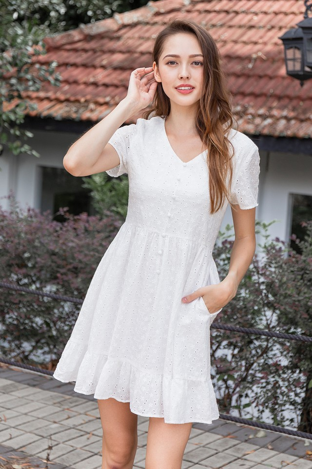 Vedda Eyelet Dress White
