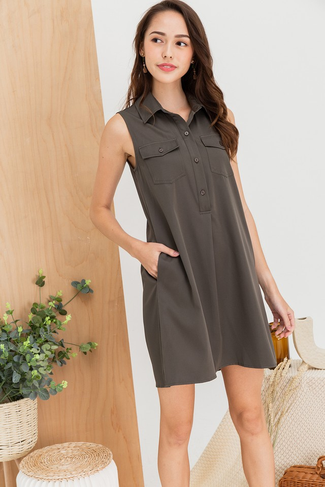 Quinna Shirtdress Army