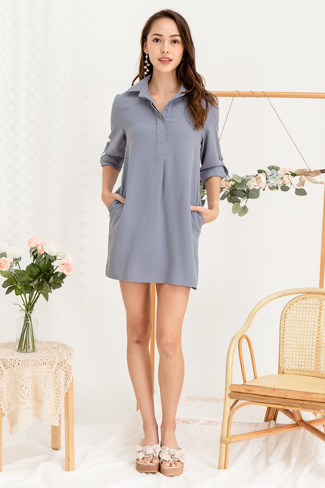 Ondine Shirtdress Grey Blue