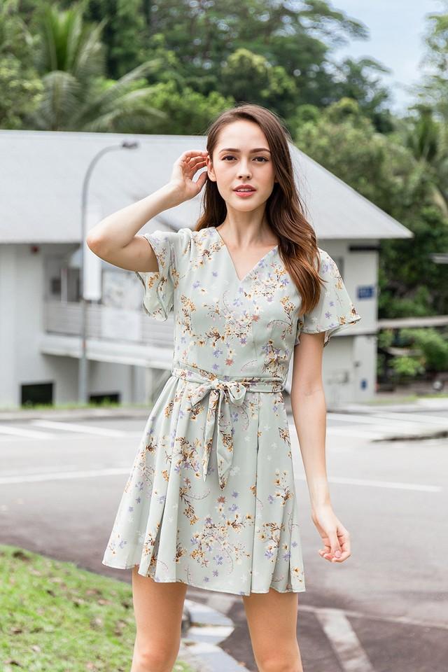 Serena Dress Sage Floral