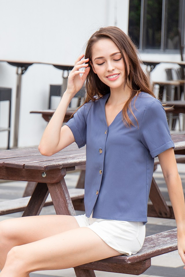 Keira Top Steel Blue
