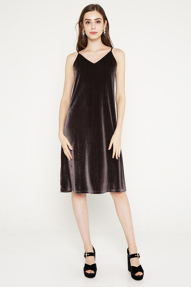 Keara Velvet Dress Bronze