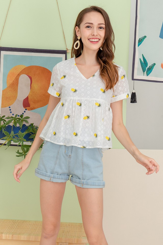 Kristen Embroidery Top Pineapple