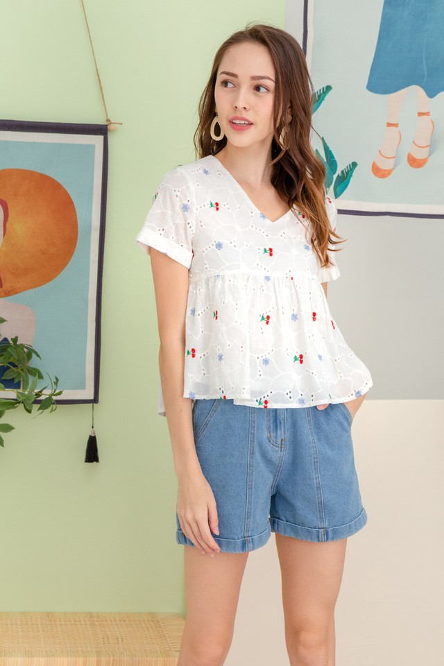 Kristen Embroidery Top Cherry