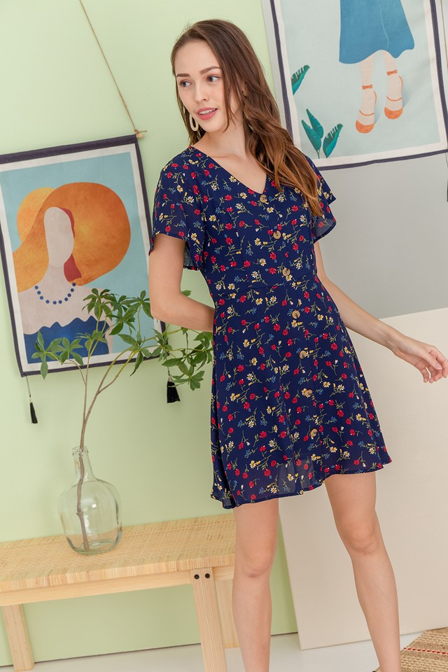 Brynna Dress Navy Floral