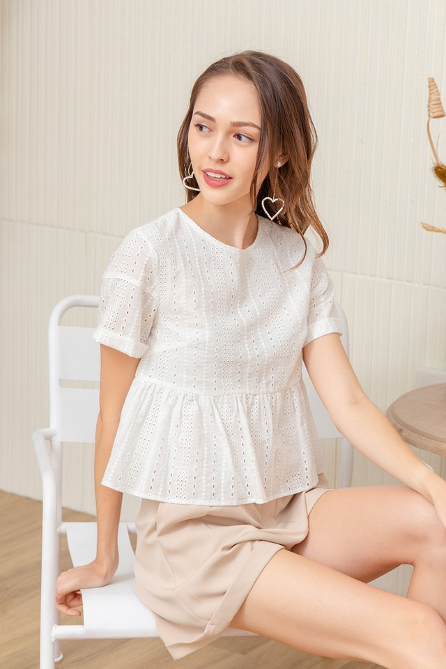 Carley Eyelet Top White