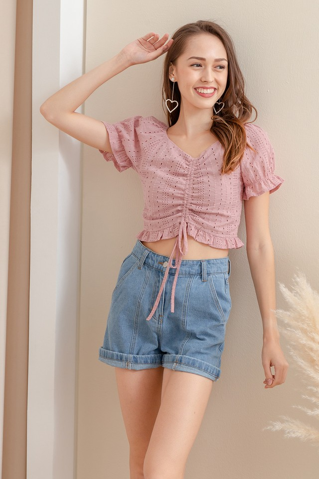Nessa Eyelet Top Pink